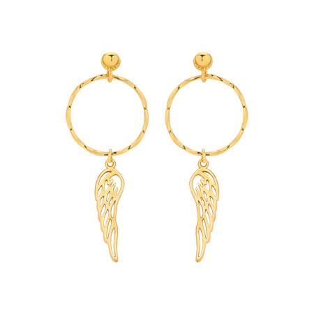 Złote kolczyki ze skrzydełkami i kółeczkami.