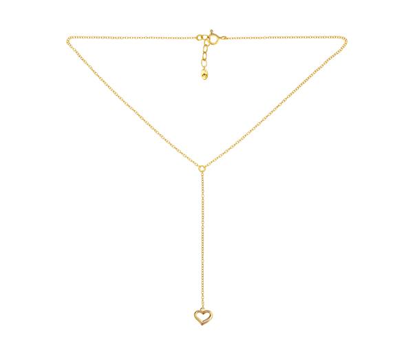 Złoty i minimalistyczny naszyjnik z serduszkiem idealny do walentynkowej stylizacji.