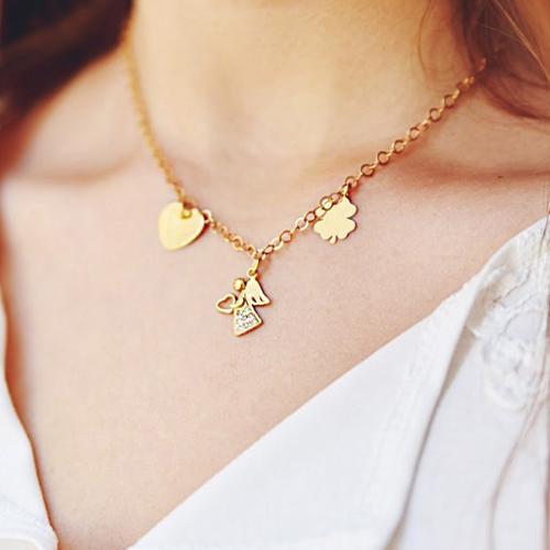 naszyjnik believe z aniłem sercem i koniczynką ze srebra pozłacanego