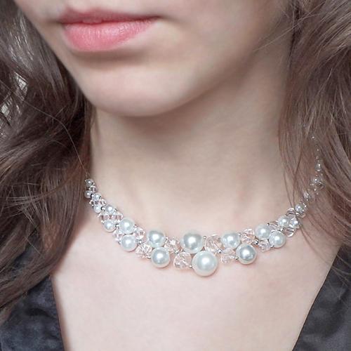 kolia ślubna z pereł i kryształów swarovski crystal