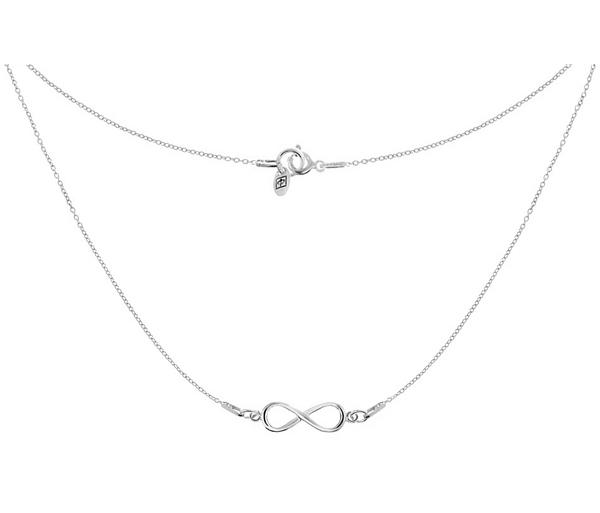 srebrny naszyjnik ze znakiem nieskończoności