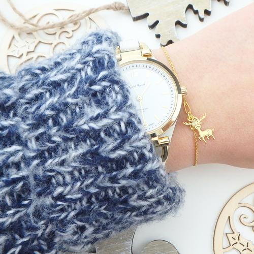 złota bransoletka z reniferem to idealny prezent na mikołajki i święta