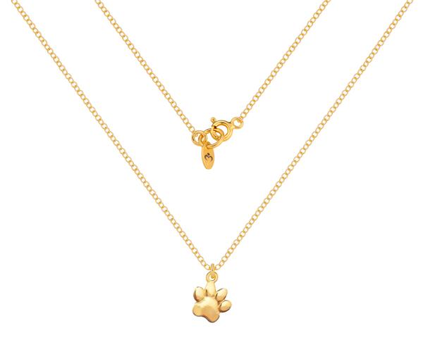 Złoty i minimalistyczny naszyjnik z motywem zwierzęcej łapki.
