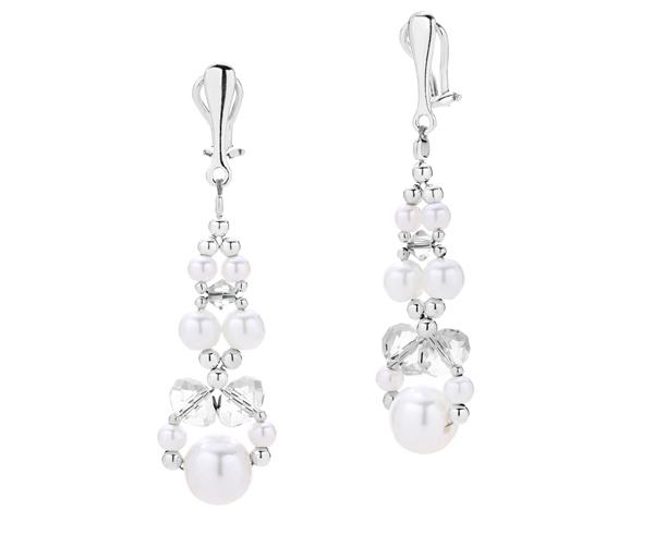 Klipsy na ślub wykonane z białych pereł i kryształów Swarovski.