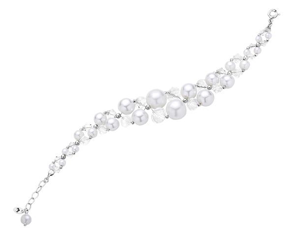 Piękna bransoletka idealna na ślub i wesele ręcznie wykonana z białych perełek i kryształków.