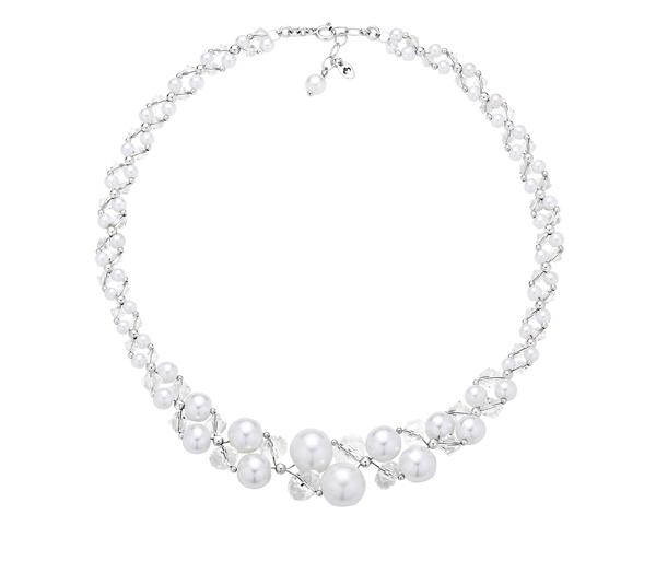 Elegancka kolia z białych pereł i kryształów idealnie pasuje na ślub i wesele.
