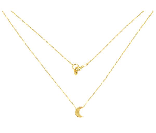Złoty i minimalistyczny naszyjnik z księżycem.