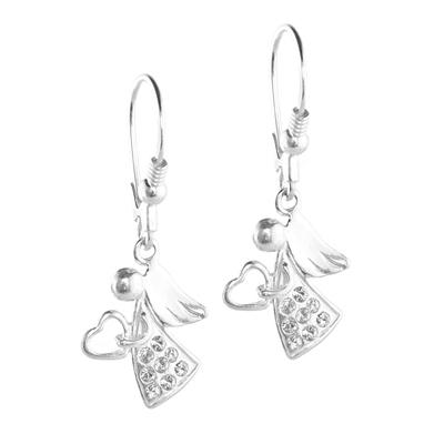 srebrne kolczyki z aniołkami wysadzanymi kryształami swarovski